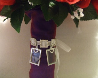 Wedding Bridal Bouquet Memory Photo Frames Charm, double sided with heart charms, rhinestone slider buckles, on ribbon, 1, 2, 3 or 4 frames.