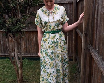 1930s / 1940s Green & Yellow Floral Cold Rayon Dress VLV