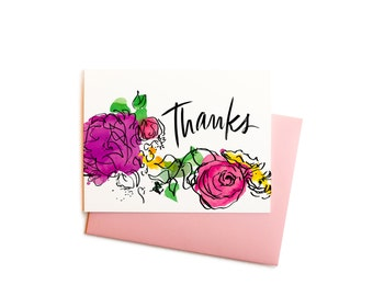 Watercolor Flowers Thank You Cards with Handwritten Typography, Boxed Set of Thank You Notes
