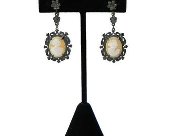 Antique 1920's Cameo Drop Earrings Sterling Silver