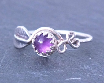 Sterling Silver Amethyst Leaf Ring, Silver Leaf Ring, Natural Silver Leaf Ring, Woodland Jewelry, Handmade Gemstone Ring