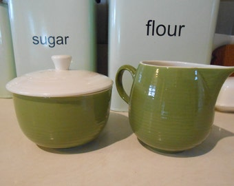 GREEN cream and sugar set