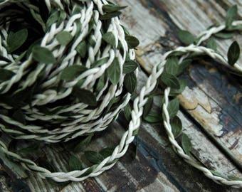 1 yard . White Leaf Twine . Rustic Leaf Ribbon . Christmas Gift Wrap . Gift Wrapping Ideas . Flower Crown Vine . DIY Wedding Headpiece