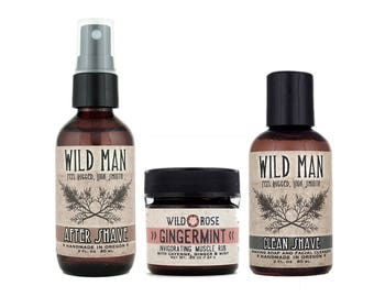 Wild Man SHAVING Gift Basket - Men's Gift Set with Shaving Soap After Shave and Muscle Rub