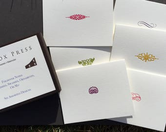 Flourishes, Swashes, Ornaments, Oh My! An assortment of set of 6 letterpress cards.