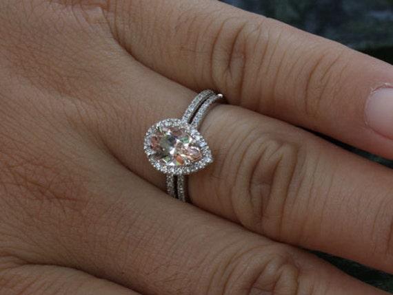 Morganite Engagement Ring Morganite Wedding Ring Set in 14k