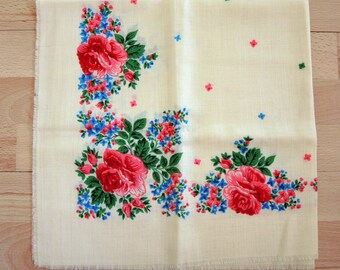 Châle en laine Vintage écharpe en laine avec motif floral #4