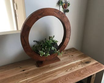 Statement Planter Table Centerpiece Reclaimed Wood Ring Stand