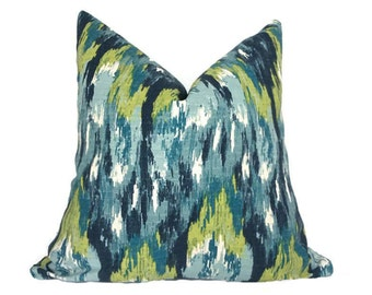 Ikat pillow covers, Designer Pillow cover, Cushion covers, Blue Green Decorative pillow cover, Throw pillow, pillow cover