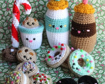 Christmas Crochet pattern! Amigurumi Food Milk and Cookies crochet pattern/ Chocolate cookies, Mini donuts, Candy Cane,Milk, Chocolate chips