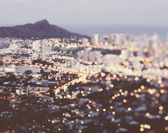 Honolulu Skyline, Travel Photography, Abstract Hawaii Print, Pastel Wall Decor, Diamond Head, City Lights - Sparkling Diamond