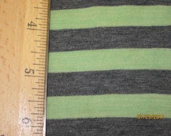 "Mint Green & Dark heather Grey 3/8"" Stripe Knit"