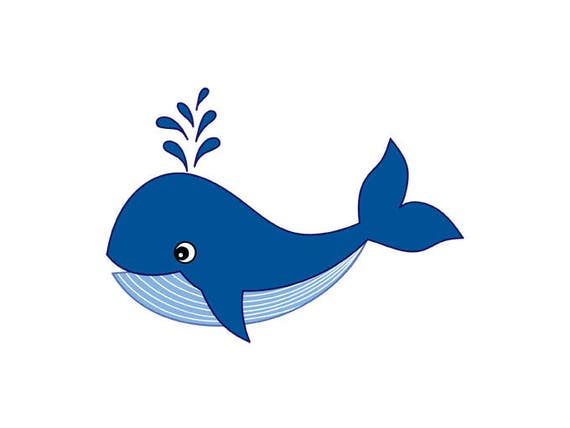Whale Clipart Digital Vector Whale Sea Ocean Nautical