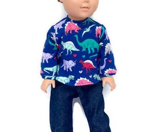 18 Inch Boy Doll Clothes, Dinosaur T-shirt and Blue Jeans, Blue T-shirt with Dinosaur Print, Boy Doll Clothes, Winter Doll Clothes