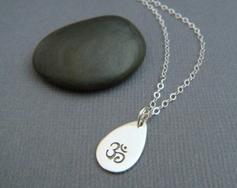 silver Om necklace. sterling silver teardrop. zen yoga jewelry. small simple Ohm symbol. delicate. everyday. dainty jewelry. gift for her