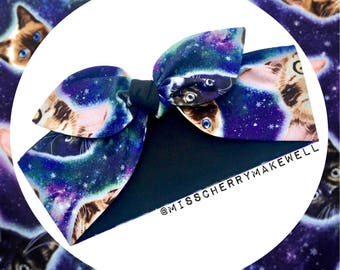 Cats in Space Cosmic Galaxy Rockabilly Vintage 1950's Pin Up Alternative Head Scarf Hair Tie Headscarf Hair Bow by Miss Cherry Makewell
