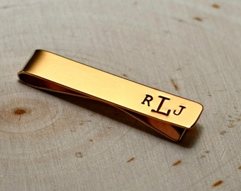 Bronze Monogram Tie Clip in Wide Style for Personalized Fashion and 8th Anniversaries - Tie Bar TB008