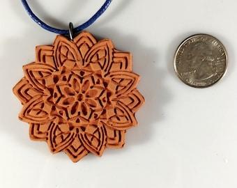 Mandala Essential Oil Diffuser Flower Lotus Necklace Terra Cotta