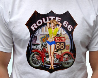 Route 66 white new t shirt top USA state short sleeves - Mens, Womens, Kids, Baby - All Sizes!