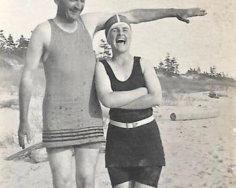 "Vintage Snapshot ""Yay High"" Tall Man Shorter Woman Swimsuits Beach Small Snapshot 1920's Found Vernacular Photo"