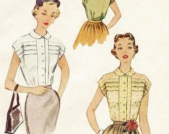 1950s Womens Blouse Button Front Peter Pan Collar McCalls Sewing Pattern 8495 Size 14 Bust 32 Secretary Blouse Vintage Sewing Patterns