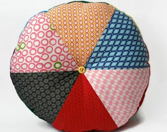 "Handmade abstract 16"" Stuffed Circular Wedge Cushion / For the home / Home Decor / Throw Pillow / Floor Pillow / Modern Pillow"