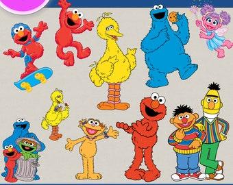 Sesame Street clipart, Sesame Street images, Elmo Clipart, Sesame Street, Big bird, Transparent Backgrounds, digital print, printable images