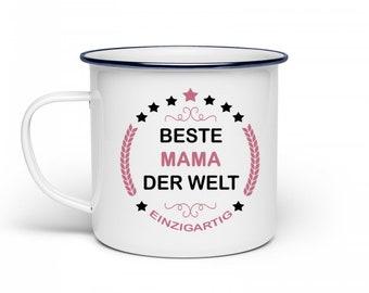 Emaille Becher  -  Beste MAMA der Welt - Geschenk-Idee Muttertag || Kaffee-Tasse-Becher mit lustigem Spruch