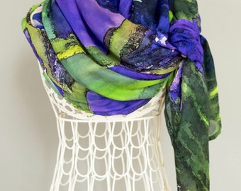 Shawl wrap. Bridal party. Weddings. Scarves for women. Abstract Floral Photography.  Shown in Purple Iris Design.