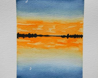 Original watercolor painting - Crescent Reflections - Sunset - crescent moon - reflections