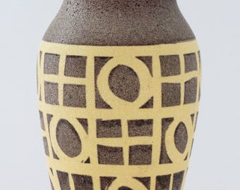 Carstens Mid Century Brown & Mustard Geometric West German Vase