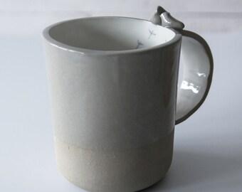 wedding gift for couple, wedding anniversary gift, grey, simple design, modern pottery mug, ceramic cup, coffee mug,  large coffee mug