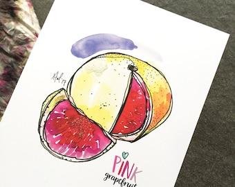"""Pink Grapefruit - 8 x 10"""" Art Print"""