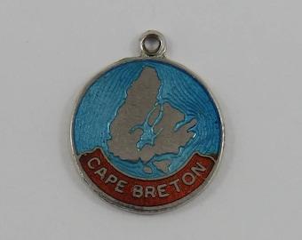 Enamel Map of Cape Breton Sterling Silver Vintage Charm For Bracelet