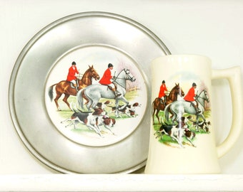 Vintage Porcelain Tray-Fox Hunt with Pewter Frame and Mug
