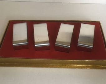 Mid Century Modern Stainless Steel Napkin Rings x4 Rectangular, Boxed