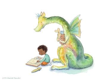 Boy Reading to a Dragon - Art Print - Children