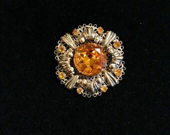 Gold Plated Filigree Brooch
