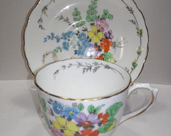 Plant Tuscan China Cup and Saucer Set  C7163 Gold Trim multicolor floral England