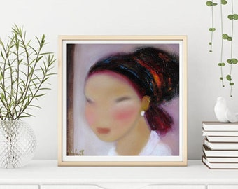 "Abstract figurative art, magenta pink beige face painting lady feminine art, Portrait in pink  bright colors,oil canvas 12""x12"" or prints"