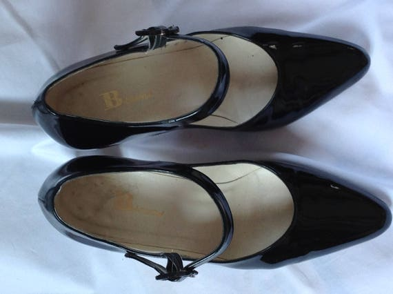 inches Leather Pumps 5 8 US heels Mary size Noir women Patent Shoes Escarpins Jane patent Janes leather 3 Mary Black ycF0RqpW