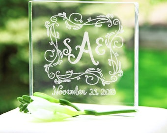 Personalized Floral Vine Monogram Acrylic Cake Topper - 1318