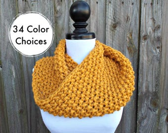 Chunky Knit Cowl Scarf - Mobius Cowl Mustard Yellow Cowl - Mustard Cowl Mustard Scarf Yellow Cowl Yellow Scarf - 34 Color Choices