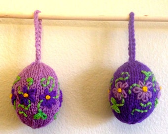 Embroidered Knitted Egg Ornaments - Spring, Easter, Birthday, Mother's Day - Pair of Purple Flowered Egg Decorations