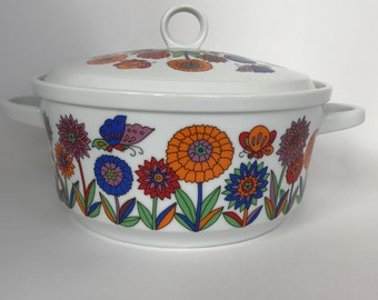 Colouful Vintage Casserole Dish from Japan