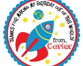 Rocket Ship Stickers-Rocket Ship Tags-Rocket Ship Birthday Party-Set of 12