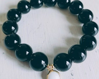 Onyx and White Agate Charm Bracelet