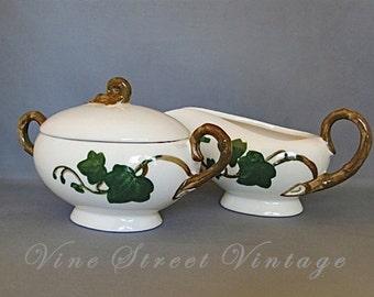 Vintage Metlox Poppyttrail Ivy California Pottery Sugar and Creamer