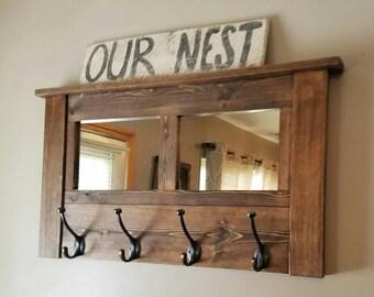 Coat rack, wall coat rack, mirrored coat rack, rustic coat rack, wooden coat rack, entryway coat rack