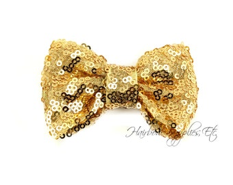 Gold Sequin Bows Small 3 inch - Sequin Bow Headband, Sequin Bow Tie, Sequin Hair Bow, Sequin Hair Bows, Sequin Baby Bows, Sequin Bowtie